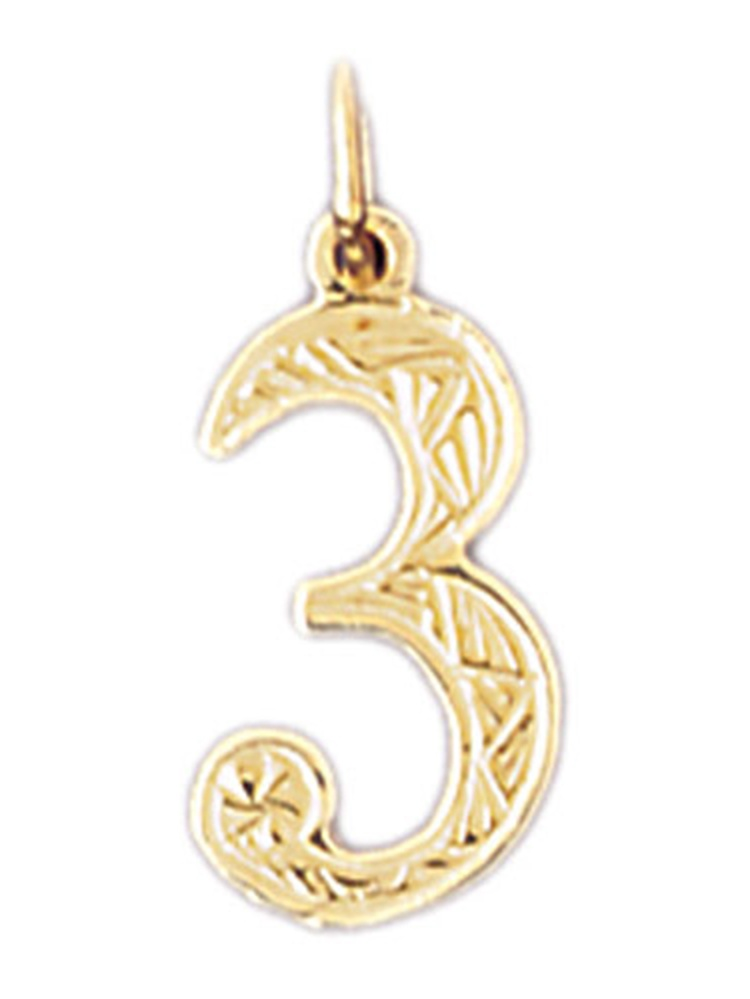 14K Yellow Gold Number Three, #3 Pendant - 19 mm