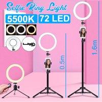 72 Bright LED Selfie Beauty Ring Light w/ Lazy Bracket Stand 5500K Dimmable Lighting Kit 360° Rotating Holder Stand Clip USB