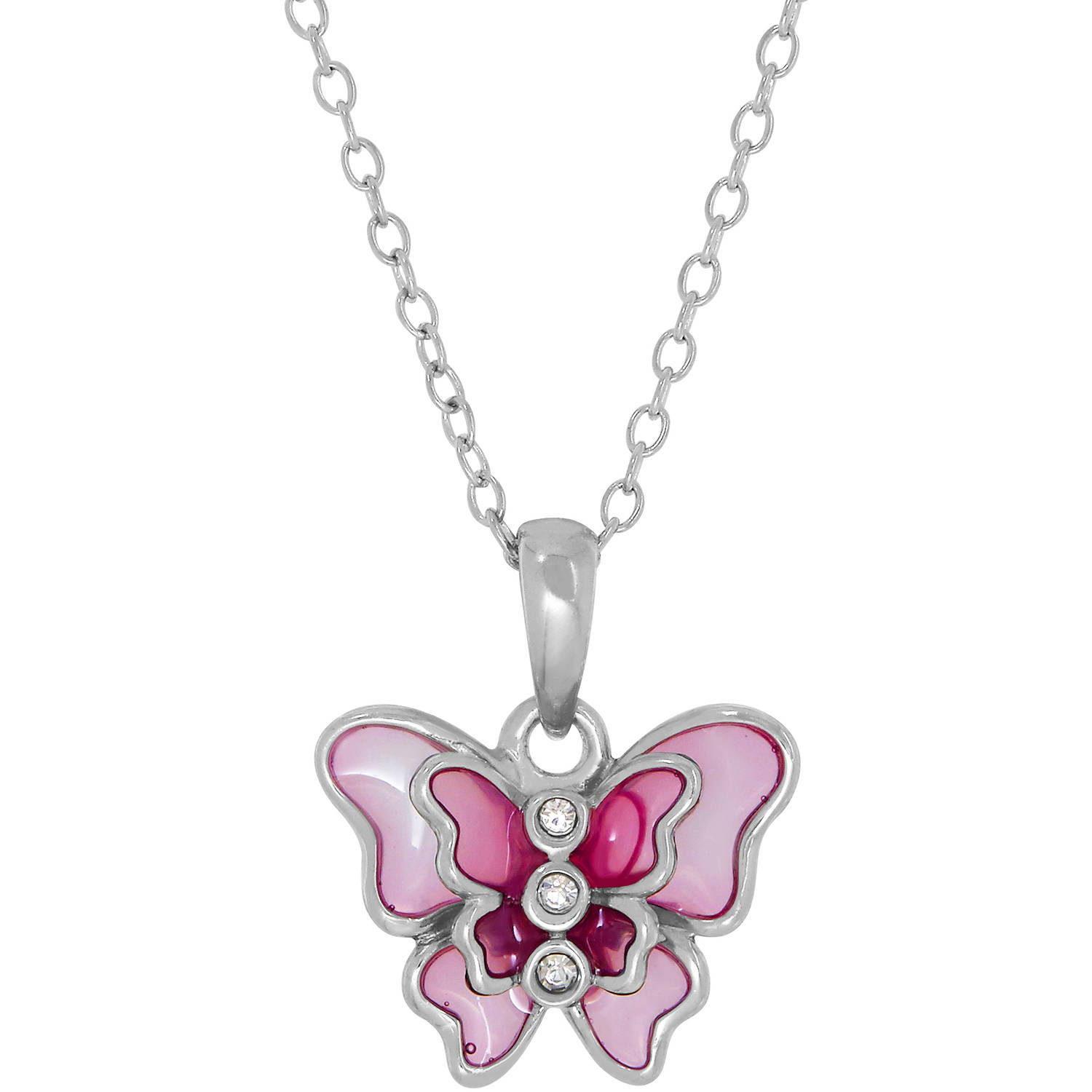 Simply Silver Kids' Sterling Silver Pink Enamel with Swarovski Crystal Butterfly Pendant, 14