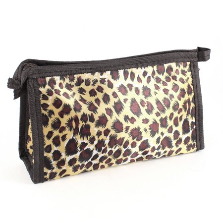 Cometic Replacement - Unique Bargains Women Gift Zip Closure Makeup Cosmetic Bag Pocket Brown Replacements