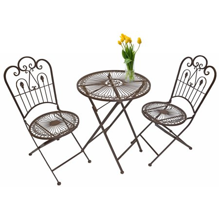 Enjoyable Provence Metal Folding Garden Bistro Set Table Two Chairs Warm Brown Gmtry Best Dining Table And Chair Ideas Images Gmtryco