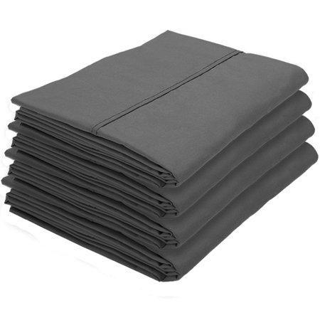 4 Pillowcases - Premium 1800 Ultra-Soft Collection - Bulk Pack - Double Brushed - Hypoallergenic - Wrinkle Resistant - Easy Care (Standard - 4 Pack, Gray)