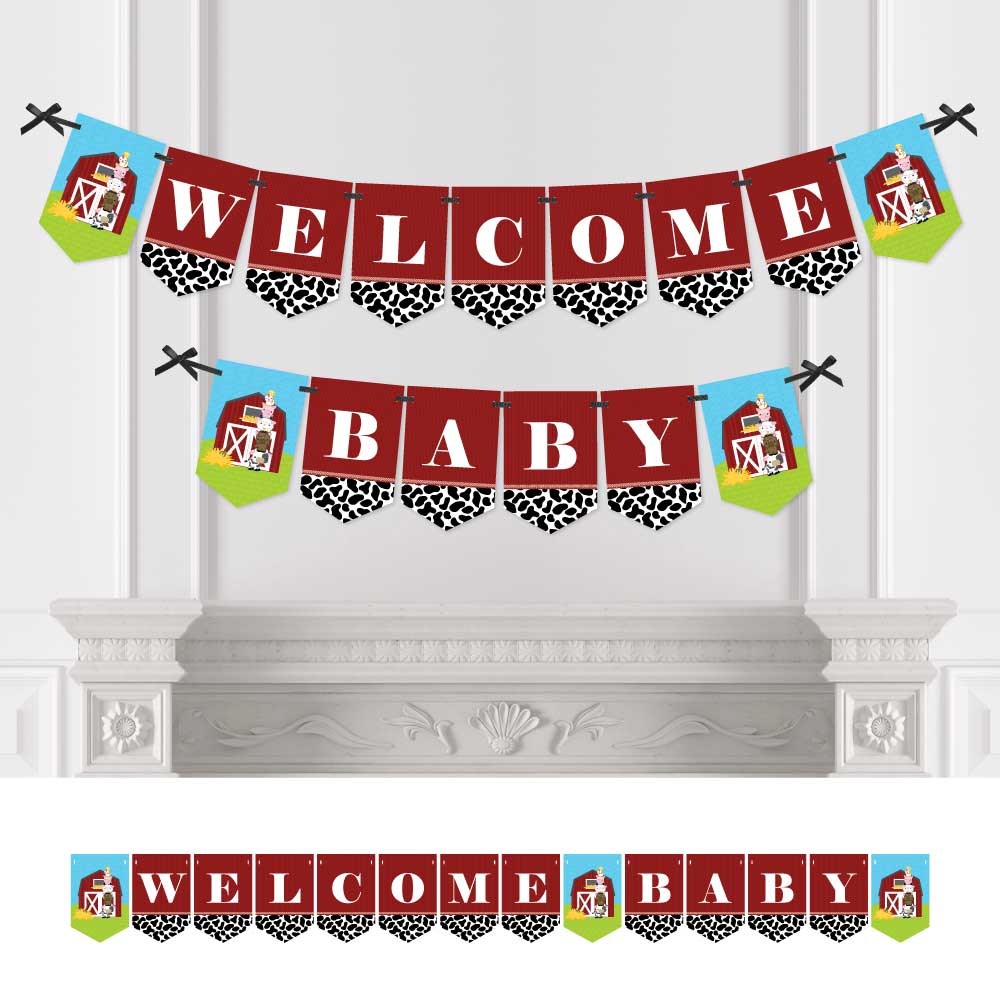 Farm Animals - Baby Shower Bunting Banner - Welcome Baby