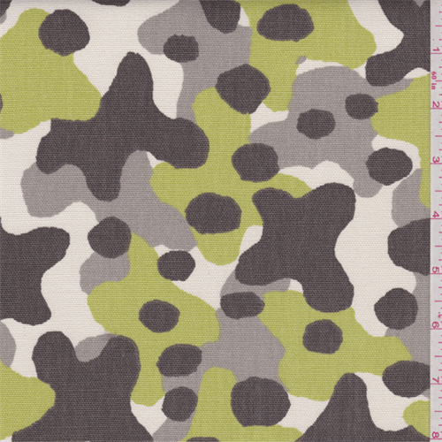 Brown/Ivory Camo Duck Canvas, Fabric By the Yard
