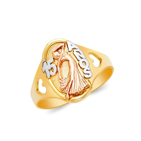 14K Tri Color Solid Gold 15 Anos Quinceanera Birthday Ring - size 5