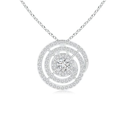Valentine Jewelry gift - Round Floating Diamond Halo Spiral Circle Pendant in 14K White Gold (2.8mm Diamond) - SP1102D-WG-HSI2-2.8 14k Gold Diamond Circle Pendant
