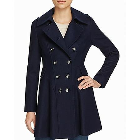 Via Spiga Leather Coat - Via Spiga NEW Navy Blue Womens Size 12 Double-Breast A-Line Peacoat