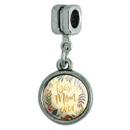 Best Mom Ever Pretty Flowers Mother's Day Italian European Style Bracelet Charm