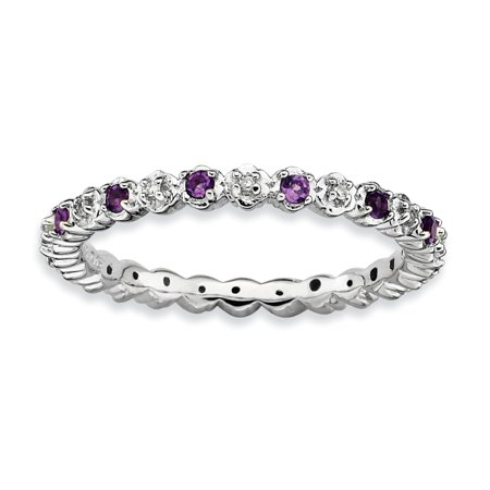 Sterling Silver Stackable Expressions Amethyst & Diamond Ring Size 7 - image 3 of 3