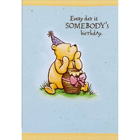 Winnie The Pooh Birthday Card (Hallmark Vintage Winnie the Pooh With Honey Pot Gift Juvenile Disney Birthday Card for)