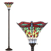 """Dragonfly Tiffany-Style 71"""" Torchiere LED Floor Lamp, Bronze/Red"""