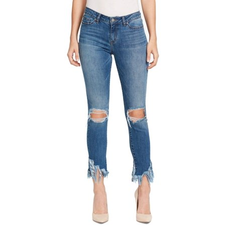 Womens Fringe Ankle Skinny Stretch Jeans -