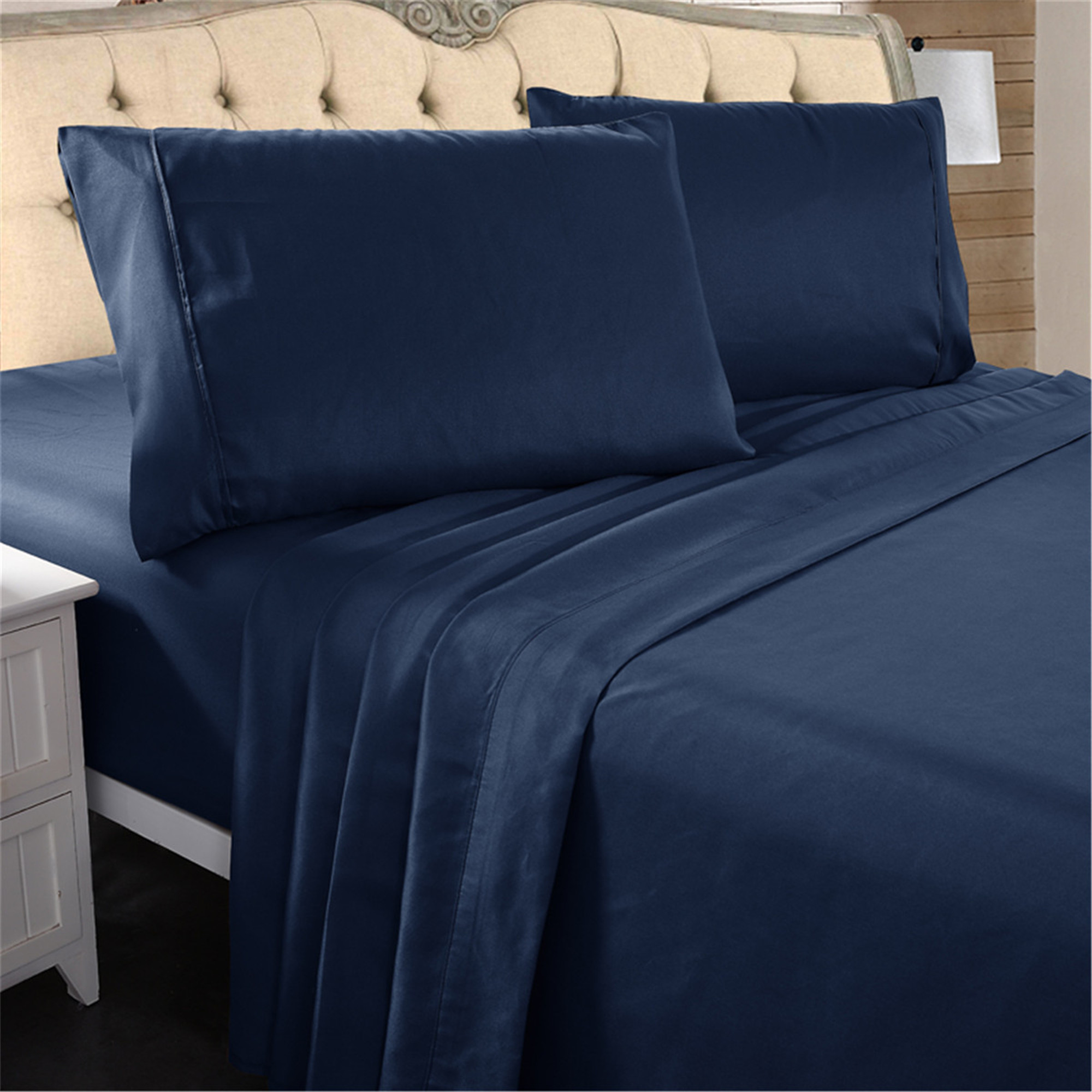 Hotel Luxury Bed Sheets 4 Pieces Extra Soft 16 Deep Pocket Brushed Microfiber Wrinkle Resistant Bedding King Navy Blue