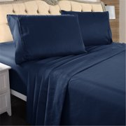 """Hotel Luxury Bed Sheets - 4 Pieces - Extra Soft - 16"""" Deep Pocket Brushed Microfiber Wrinkle Resistant Bedding Sheets King,Navy Blue"""