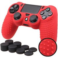 Pandaren STUDDED Anti-slip Silicone Cover Skin Set for PlaySation 4 controller(Red controller skin x 1 + FPS PRO Thumb Grips x 8)