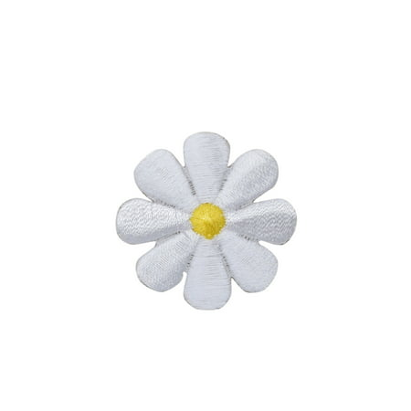 Medium White Daisy - Flowers - Iron on Applique/Embroidered Patch