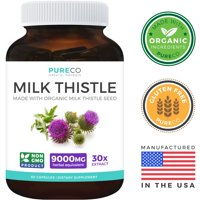 Pure Co. Organic Milk Thistle Extract (Vegan) - Super-Concentrated 4:1 Extract for 9,000mg of Milk Thistle Herb Power - Silymarin Marianum - Supports Cleanse & Detox - 60 Capsules