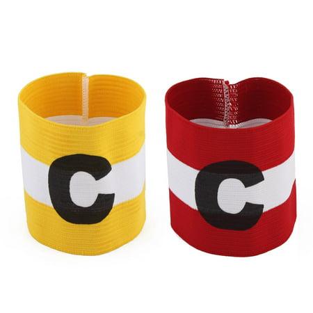 Stripe Design Stretchy Sports Match Team Soccer Captain Armband 2 Pcs