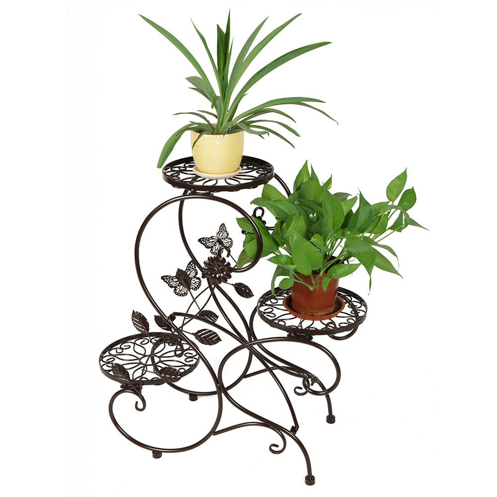 "3-tier Classic Plant Stand with Modern ""S"" Design (Bronze) by HLC"