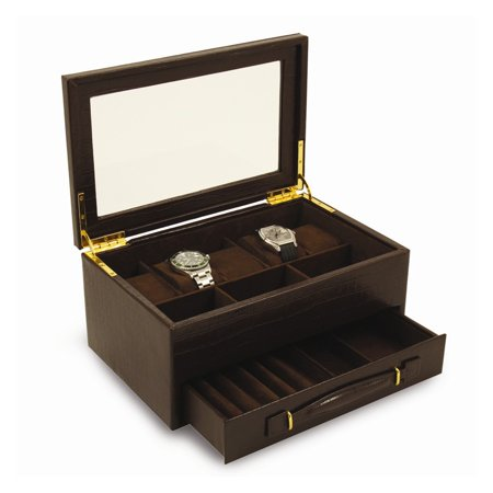 Croco Texture Leather (Brown Croco Texture Leather 5 Watch Box W/ Drawer & Glass Top )
