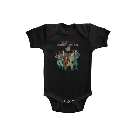 The Real Ghostbusters TV Series The Whole Crew Black Infant Baby Romper Snapsuit