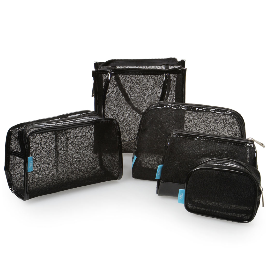 BMC Womens 5 pc Black Mesh Lace Style Design Make Up Pouch Cosmetic Bag Set