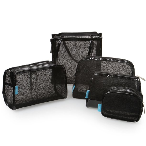 BMC Womens 5 pc Black Lace Carry On Cosmetic Mesh Travel Bags Pouch Set - Various Sizes of Sundry Zippered Clutch Tote Multipurpose Toiletries and Makeup Bag Purse Organizer