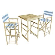 Zew SET-007-6-22 1 High Square Table and 2 High Director Chairs, Navy and White Stripe - Brand New