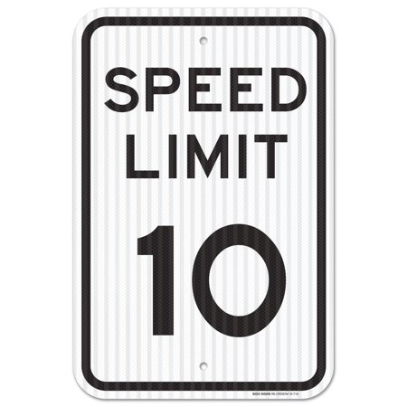 Aluminum Speed Limit Sign - Speed Limit 10 MPH Sign, Federal 12