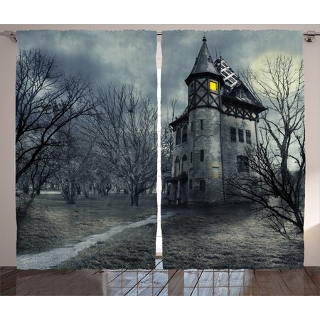 Interior Design For Halloween (Scenery Decor Curtains 2 Panels Set, Halloween Design with Gothic Haunted House Dark Sky and Leafless Trees Spooky Theme, Window Drapes for Living Room Bedroom, 108W X 84L Inches, Grey,)