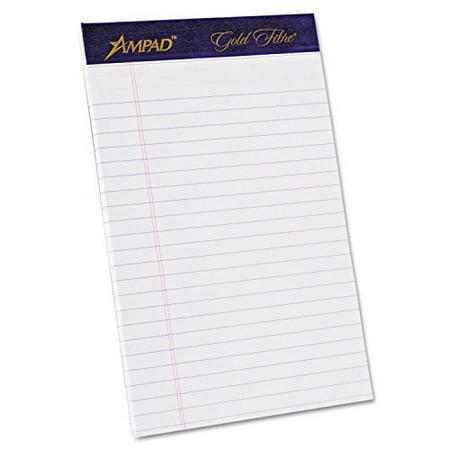 Ampad Legal Pad - Ampad Gold Fibre Pad, White, 5 x 8, Jr. Legal Rule, 50-Sheets, 4-Pack