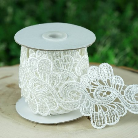 """Efavormart Peacock Inspired Clear Sequined Crocheted Heavy Lace Ribbon Trim 3.15"""" x 5yards - White"""