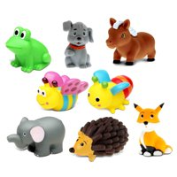Dollibu Bath Buddies Wild Critters Rubber Squirter Toys - Pony, Puppy, Fox, Hedgehog, Elephant, Frog, Bee, Butterfly - 3 inch - For Baths, Pool, Outdoor - Baby Bathtime Learning (8pc Set)