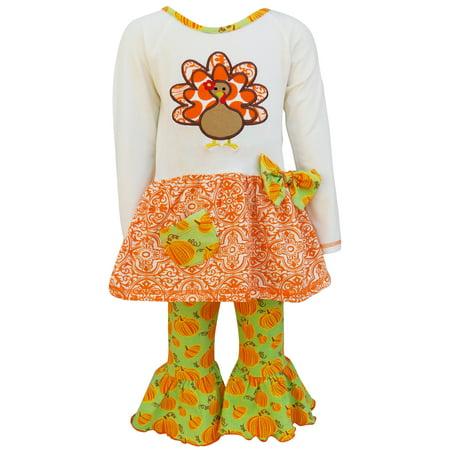AnnLoren Original Thanksgiving Turkey and Pumpkin Tunic with Print Pants Set (Thanksgiving For Kids)