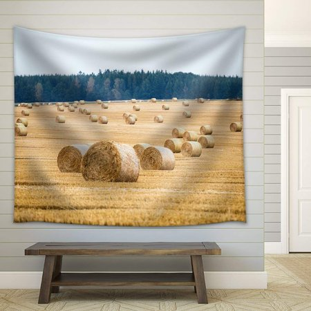 Summer Harvest Wall Tapestry (wall26 - Hay bales on the field after harvest - Fabric Wall Tapestry Home Decor - 51x60)