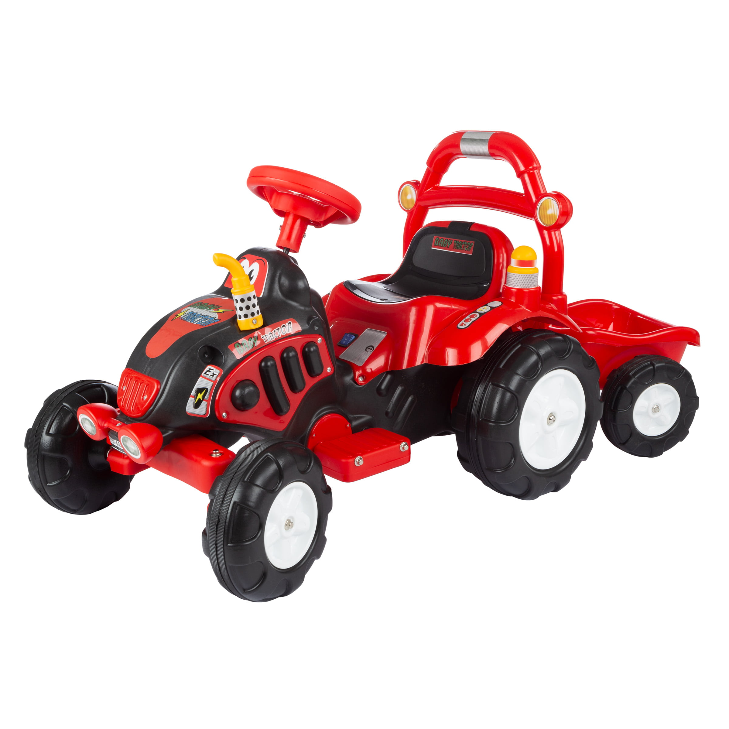 Ride On Toy Tractor And Trailer, Battery Powered Ride On