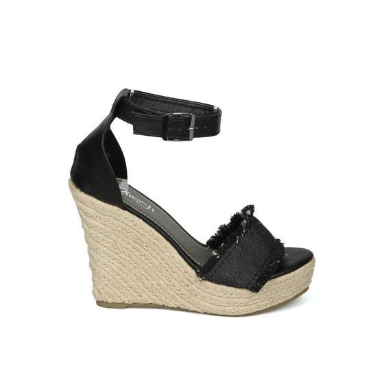 93b0b7a99d4 Alrisrf - Women Open Toe Frayed Ankle Strap Espadrille Platform ...