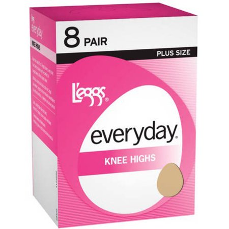 Leggs everyday womens plus knee high hosiery 8-pair