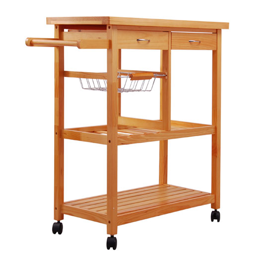 Large Kitchen Cart with Rubberwood Top, Multiple Finishes ...