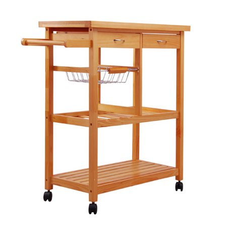 Homcom Home Basics Kitchen Cart With Double Drawers And Lockable Wheels