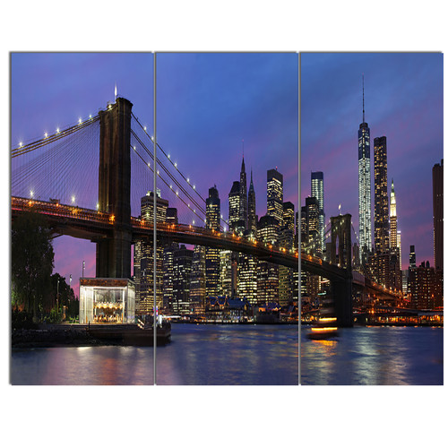 Design Art 'Brooklyn Bridge and Manhattan at sunset' 3 Piece Photographic Print on Wrapped Canvas Set