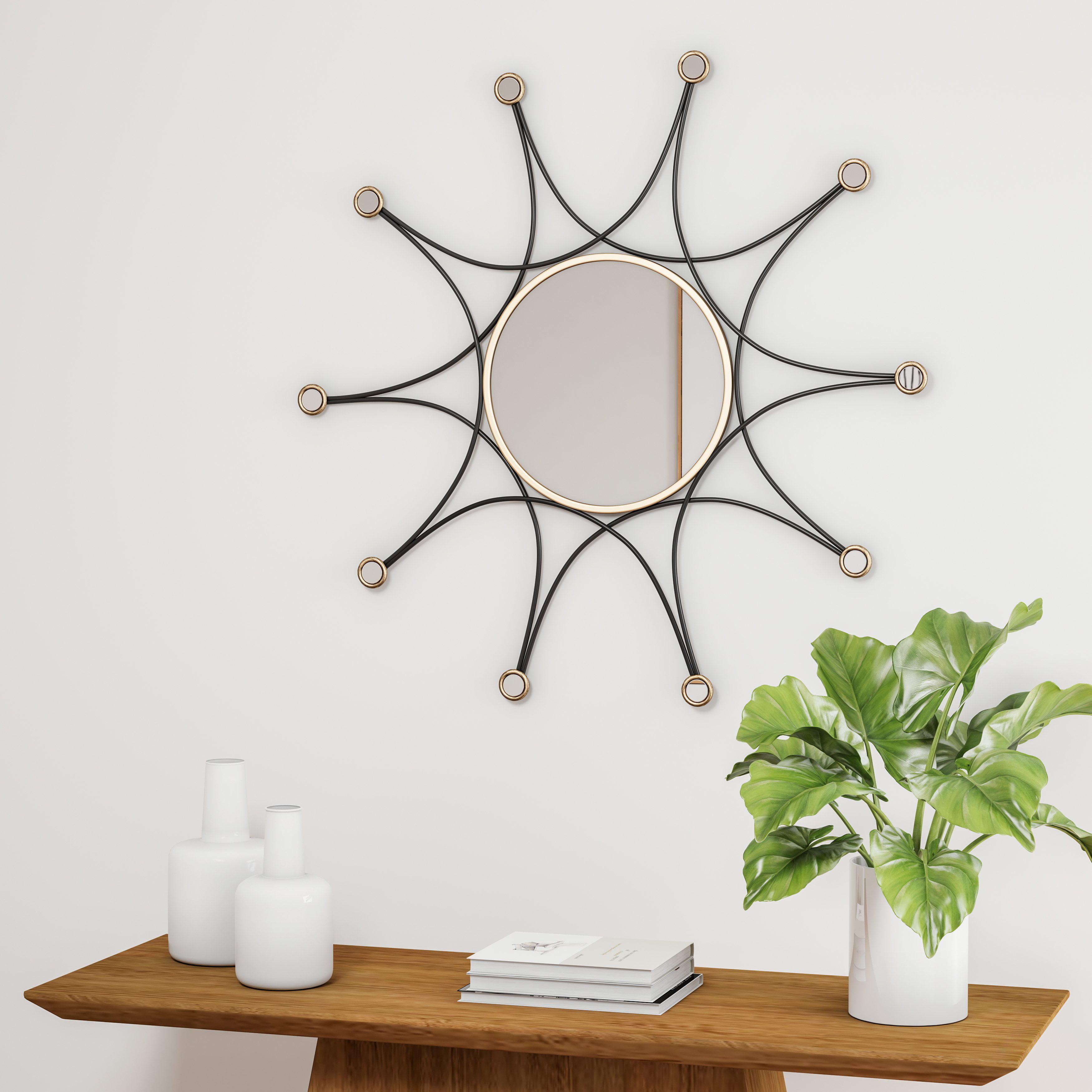 Carson Carrington Asnaes Black Decorative Wall Mirror Gold N A Walmart Com Walmart Com