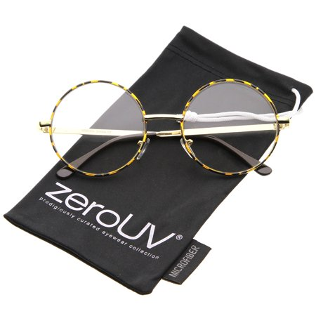 zeroUV - Retro Lennon Style Mid Size Metal Frame Clear Lens Round Glasses 51mm - (60s Style Sunglasses)