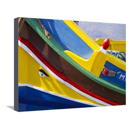 Mediterranean Bay (Detail of a Fishing Boat, St. Paul's Bay, Malta, Mediterranean, Europe Stretched Canvas Print Wall Art By Nick Servian )