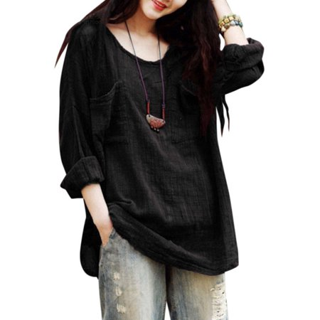 Plus Size Women Ladies Long Sleeves T Shirt Casual Loose Cotton Linen Top Blouse