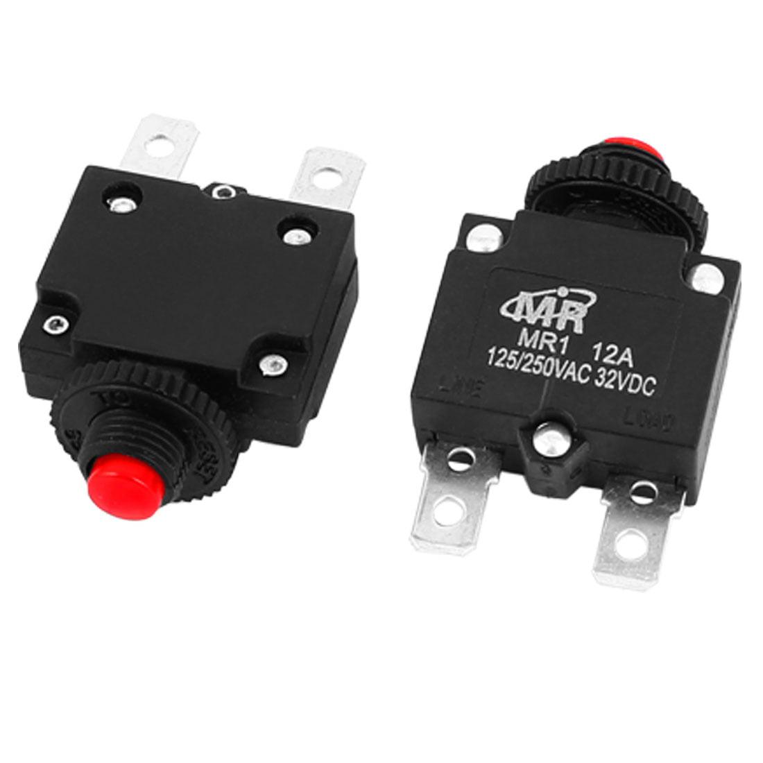 Unique Bargains  125V/250V 12A NC Hand Reset Button Overload Protector Circuit Breaker 2Pcs
