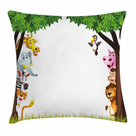 Nursery Throw Pillow Cushion Cover, Big Trees and Friendly Jungle Safari Animals Wilderness Tropical African Wildlife, Decorative Square Accent Pillow Case, 18 X 18 Inches, Multicolor, by Ambesonne ()