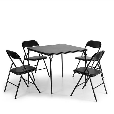 Jaxpety 5-Piece Folding Table and Chairs Set Multipurpose Kitchen Dining Games Table Set Folding Table Chairs Set