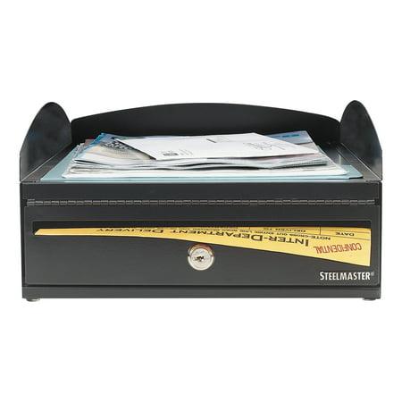Steelmaster Lockit Inbox Desk Tray  Single Tier W Locking Box  11 X 14 1 4 X 5 7 8  Black