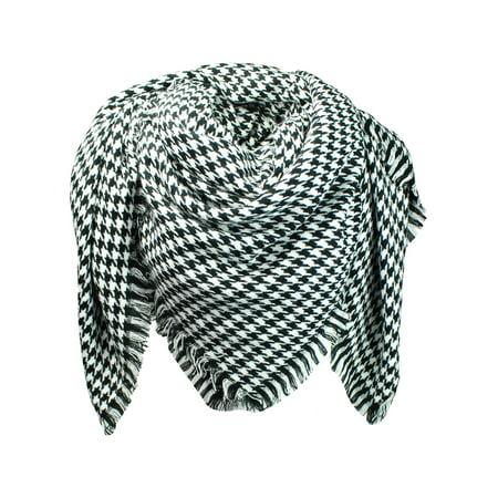 (Black & White Houndstooth Pattern Blanket Scarf With Fringe)